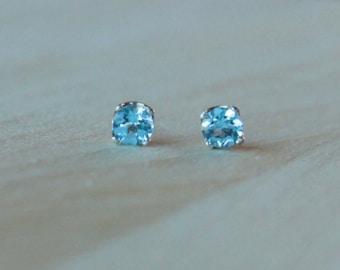 5mm Swiss Blue Topaz Argentium Silver Earrings - Nickel Free Hypoallergenic Stud Earrings