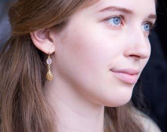 Delicate Pink Chalcedony Filigree Earrings, Bridal Party Jewelry, Gold Dangly Earrings, Ornate Earrings, Gemstone Dangle Earrings, Elegant