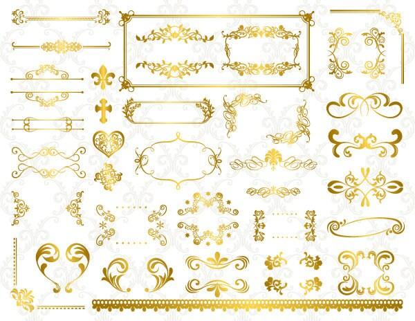 Instant Download Digital Gold Flourish Swirl Frame Border Clip Invitations