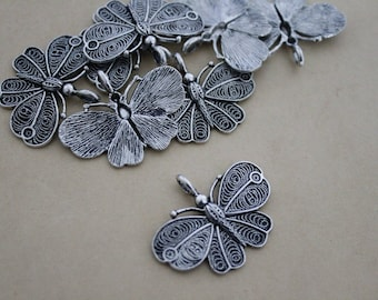 Animal Butterfly pendant 32mm silver metal
