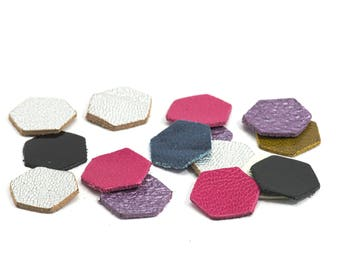 20 small hexagons of genuine leather - Sun. sides: 8 mm - set multicolor