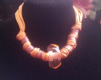Ochre Silk Thread, Plastic, Coppertone Metal Knotted Chunky Necklace