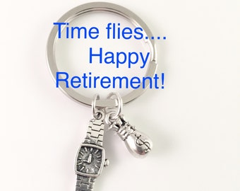 Retirement keychain, watch charm keychain, money charm keychain, employee retirement gift, dad gift, gift for retired, over the hill