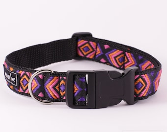 "Handmade / adjustable dog collar / Size M / 2,5 cm (1"")"