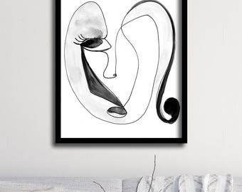 Line Drawing Face : Abstract face art set of wall one line