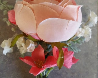 Boutonniere, Corsage, Wedding Flowers, Prom, Coral, Peach, Pick Your Colors, Ribbon or lace, Add Bow, Discounted Packages Available