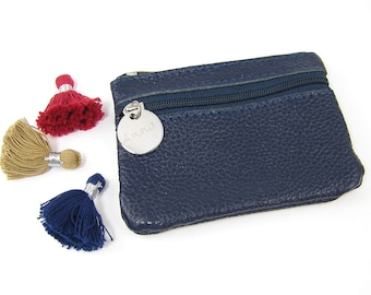 Navy Blue Coin Purse, Personalized Change Purse, Blue Engraved Leather Zipper Pouch, Custom Wallet ID Card Keys Gift for Her Mom Girlfriend