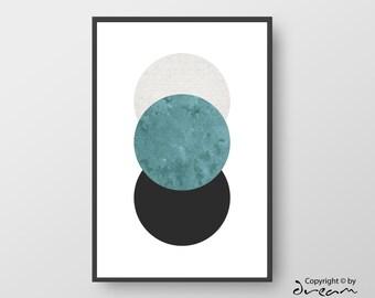Printable Geometric Art, Modern Geometric Poster, Circle Print, Scandinavian Poster, Nordic Print, Minimal Art, Circle Art INSTANT DOWNLOAD