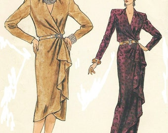 80s Womens Wrap Dress with Front Overlay Day or Evening Length Vogue Sewing Pattern 9078 Size 14 Bust 36 UnCut Vintage Sewing Pattern