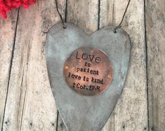 Personalized Holiday Ornament, Tin Heart Ornament, Custom Made Primitive Rustic Wreath Decor