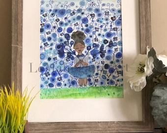 Blu Floral Wall- Black Girl Magic Art, Floral Wall Art, Kids Wall Art, Black Girl art by LeMahogany Art