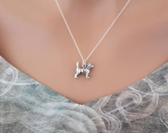 Sterling Silver Beagle Charm Necklace, Beagle Necklace, Beagle Dog Necklace, Beagle Dog Pendant Necklace, Sterling Silver Beagle Necklace