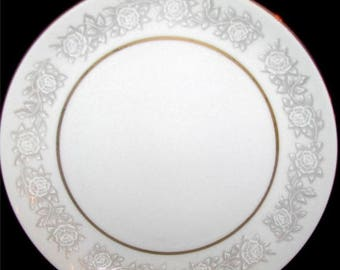 ON SALE Fine China of Japan QUEENS Brocade Lot of 5 Dinner Plates White Floral Gold & Queens brocade | Etsy