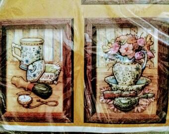 Vintage Creative Circle Le Boudoir Stitchery Kit 1984 French Country Bathroom Craft Décor Set 5 X 7