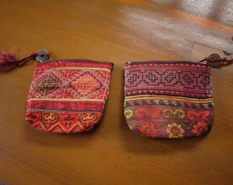 SALE --- 2 Purses - Purses made from vintage textile - asian tribal textile - purses made from ethnic fabric - recycled textile