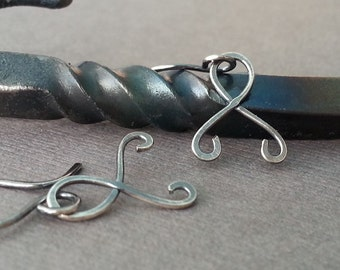 Dangle Scroll Earrings, Handmade Sterling Silver Awareness Ribbons, Antiqued - Artisan Made in USA