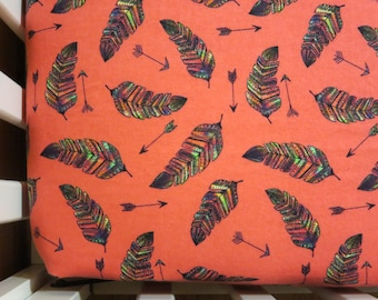 Rainbow Feathers on Coral - Baby/ Toddler Crib Sheet-Fitted Crib Sheet-Sheets- Bedding-Nursery-