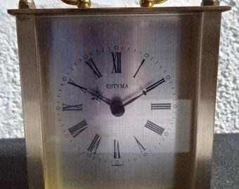 Brass Carriage Clock/Estyma/Vintage/1980s
