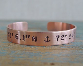 Latitude Longitude Bracelet, Coordinate Anchor Bracelet, Copper or Brass Cuff, Nautical Jewelry, Delta Gamma Sorority Gift, Hand Stamped