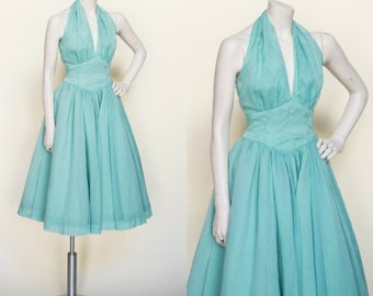 1950s Party Dress --- Vintage Halter Dress