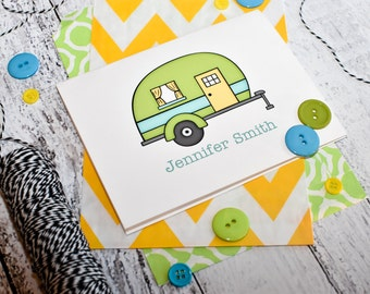 Camper Personalized Note Cards - Camper Trailor Set of Stationery - Camper Note Cards - Camper Stationery - Personalized Stationery - Camper