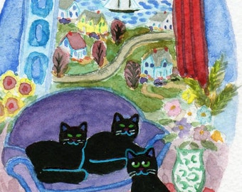 ORIGINAL PAINTING, 3 Black Cats by the Bay with Yellow Lab and Fresh Cut Flowers, by DM Laughlin