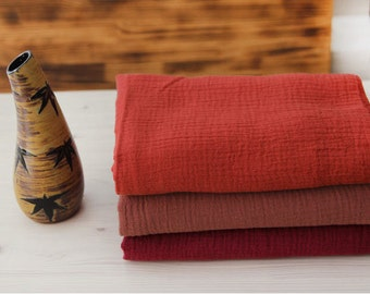 "Wrinkled Cotton Gauze, Crinkle Gauze, Double Gauze, Yoryu Gauze - Red Orange, Brick or Wine - 55"" Wide - By the Yard 94297"
