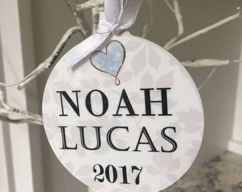 """ITS A BOY - baby's first christmas - personalized photo ornament - 3.5"""" round aluminum,two sided, glossy finish, can be personalized"""