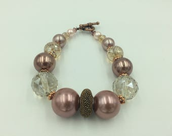 Chunky Bronze and Pearl Bracelet