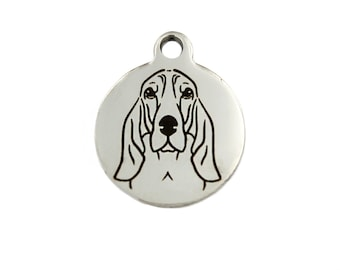 Bloodhound Charm, Bloodhound Jewelry, Stainless Steel Bloodhound Dog Charm, Bloodhound Necklace Charm, Bloodhound Bracelet Charm