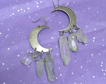 Fuschite Crystal Dangle Earrings - Silver Moon, Matte Silver, Goddess Jewelry
