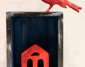 Red House, Red Bird,  Art, Mixed Media, Assemblage, Junk Art,  Recycled, Home Decor, Office Art, Gift, Winjimir, Art, Bird Art, Spring,