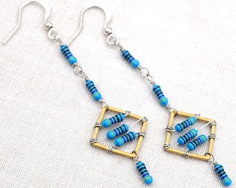 Statement Jewelry Wearable Technology Tech Jewelry Computer Earrings Petite Resistor Geometric Earrings Tiny Blue Electronics Eco Friendly