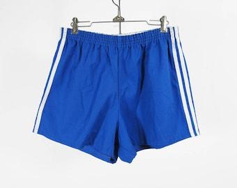 Vintage 80s Track Shorts Trefoil Retro Blue Short White Shorts Striped - Size Medium