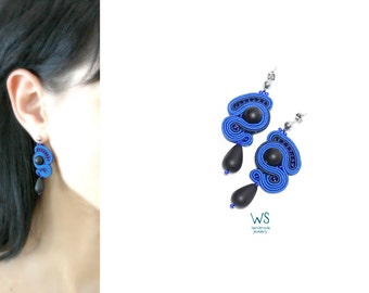 Blue dangle earrings . Ultramarine . Earrings handmade . Jewelry from Soutache and Czech glass .