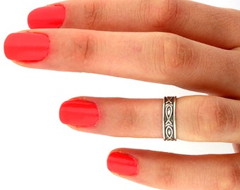 sterling silver knuckle ring Jesus fish Midi ring Ichthys Toe Ring Adjustable Midi love ring memory Ring the above knuckle ring (T22)