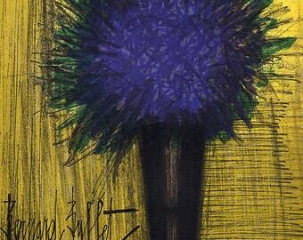 """Bernard Buffet """"The purple bouquet of flowers"""" Original Lithograph printed 1968 -d"""