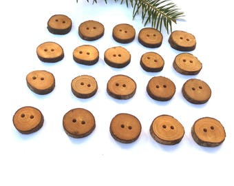 Wooden Buttons Wood Buttons Sewing Scrapbooking Cardmaking Unusual Buttons Handmade Eco Buttons Olive Wood Buttons, Set of 20, 3/4'', 2 cm