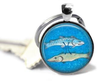 Pisces keychain February birthday March birthday astrology key ring zodiac fish key chain.