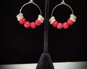 Bling red hoops