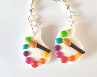 Paint palette and brush earrings multicolor school teacher fimo