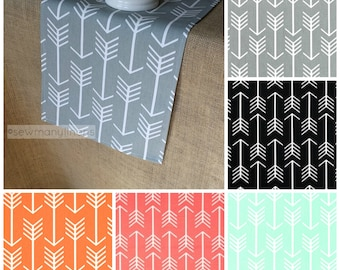 Gray Black and White Coral Orange Mint Green Arrow Table Runner Table Centerpiece Dining Home Decor Party Linens Decoration