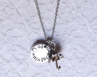 In Omnia Paratus Necklace - Hand Stamped Gilmore Girls Rory Team Logan Luke's Funny Nerd Girl Style Jewelry kreative studios Umbrella