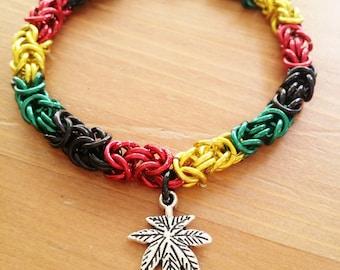 Rasta Hemp Chainmaille Bracelet, Jamaican, Rastafarian, One Love, Anodized Aluminum and Charm