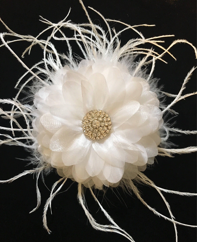 Bridal Flower Clip White Feather Clip White Flower Hair Clip