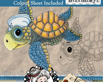 Sea Turtle Digital Stamp, Digi, Card Topper, Cartoon, Instant Download, ,  ID:NV-DS0086 By Nana Vic