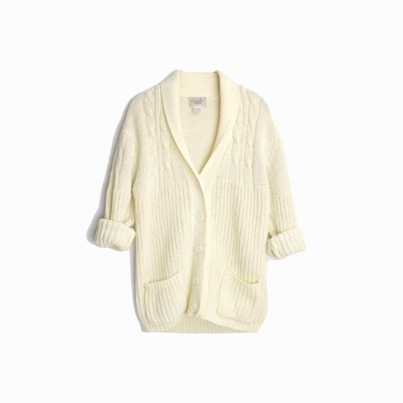 Vintage 70s Men's Shawl Collar Sweater / Ivory Cable Knit Cardigan - men's medium