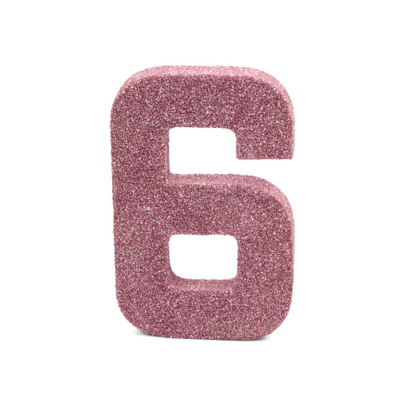 """8"""" Glitter Number 6, Paper Mache Number 6, Giant Blush Pink Number, Centerpiece Number Six, Table Letters, Large Decorative Pink Birthday"""