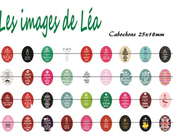 Keep calm 1: digital images for cabochons 25x18mm Board