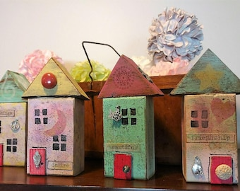 Four Little Wonky Wood Houses, Hand painted Wood Blocks,  Mixed Media, One of a Kind, Housewarming Gift, Mothers Day,